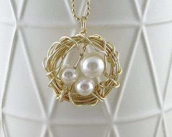 Gold handmade wire birds nest with pearl eggs on gold plated ball bearing necklace - Delicate necklace - Australian Seller