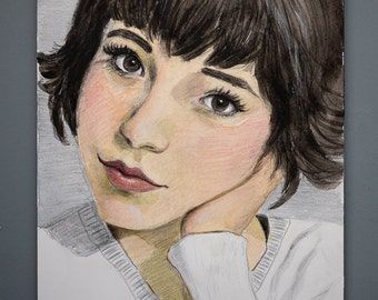 """Original Watercolor + Mixed Media Painting ca. 10"""" by 7"""" Portrait of a Pretty Young Woman"""