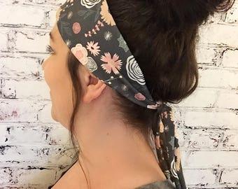 NEW! Tie-Back Headband - Flora's Garden - Yoga Headband - Boho Headband - Eco Friendly Fabric