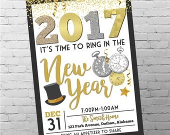 New Years Eve Invitation | New Years Party Invitation | New Years Eve 2017 | New Years Party  | Digital Invitation
