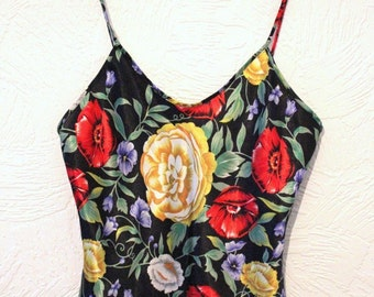 Vintage 90's Rose Floral Satin Silky Cami Strappy Top Minimal