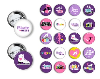 Ice Skater Ice Skating Figure Skating  (set 1)  20 Pin Back Button Party Favors  1.25 inch Buttons pins badges Student Reward