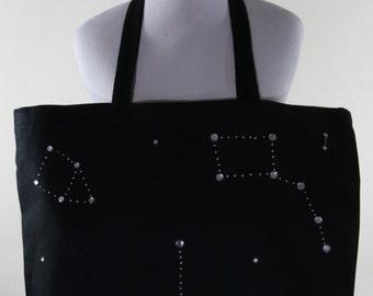 Jumbo Black Canvas Bag Constellation Stars FREE SHIPPING
