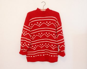 Red and White Pullover Cotton Sweater - Late 80s/ Early 90s