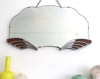 Vintage Art Deco Mirror Fan Shape Chrome Pegasus Wings