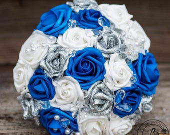 Royal blue wedding bouquet, royal blue and silver bouquet, horizon blue bouquet, glitter silver roses, bridal wedding bouquet with crystals