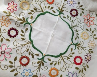 Fabulous large floral embroidered , vintage cotton tablecloth