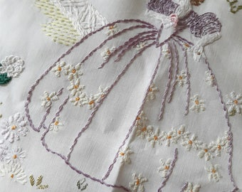 Vintage embroidered crinoline lady panel. In pastel colours.