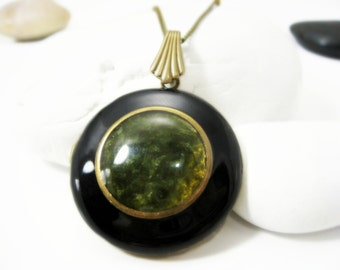 Solid Perfume Locket. Jade Black Locket Necklace. Natural Gemstone Pendant. Jade & Antique Brass. Solid Perfume Jewelry.