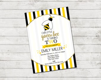 Bee Birthday Party Invitation - Queen Bee Birthday Invite - Bee Invitation - Stripes - Yellow Black Gold - Printable