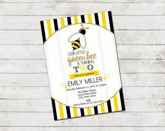 Bee Birthday Party Invitation - Queen Bee Birthday Invite - Bee Invitation - Stripes - Yellow Black Gold - Printable