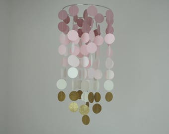 Dusty Rose Ombre/Gold Chandelier Mobile// Nursery Mobile - Choose Your Colors