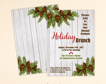 Christmas Brunch Invitation, Holiday Party, Xmas Pot Luck Dinner, Holiday Open House, Holiday Birthday Party, Christmas Invite C2006