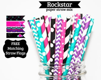Girl Rockstar Paper Straw Mix hot pink black purple teal PAPER STRAWS birthday party wedding bridal shower event cake pop