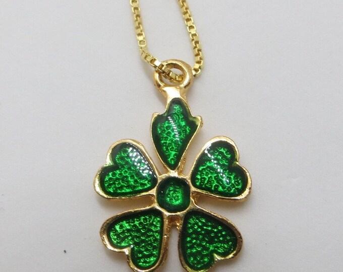 Lucky Shamrock Necklace, Enamel and Goldtone, St. Patricks Day Jewelry