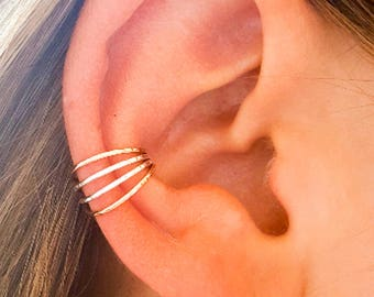 Silver Rose Gold Ear Cuffs, No Pierce Ear Cuff, Hand hammered Cuff