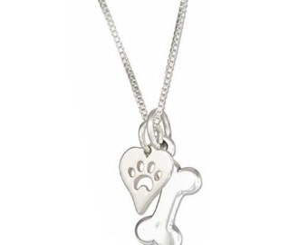 Dog Bone with Paw Print and Heart Charm Necklace in Sterling Silver 18 Inch Chain