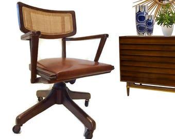 Mid Century Modern Chair Walnut Rolling Desk Chair Cane Retro Danish Style Office Chair Eames Era Desk Chair Sculptural Chair Bohemian