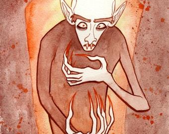 Nosferatu, Count Orlock, Original Watercolor Painting