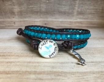 I Must Be a MERMAID Blue Double Wrap Bracelet