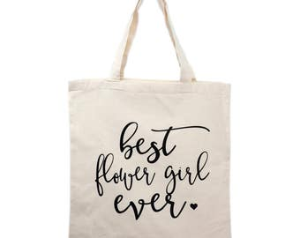 Flower Girl Tote Bag Gift, Bridal Party Tote Bags, Wedding Canvas Bags, Bridesmaid Gifts, Mother of Bride/Groom Gifts, Maid of Honor Gift