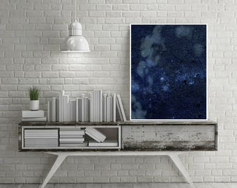 Large print, abstract art, minimalist, graphic design, for wall decoration, abstract and minimal print / BLUE COSMOS