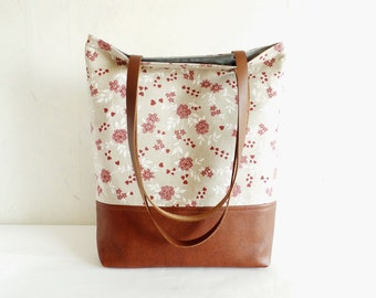 Leather and cotton tote bag, Aurora red floral print tote, Vegan leather everyday purse, real leather handles, Caramel brown handbag purse