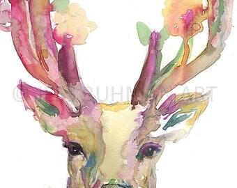 Deer Watercolor Painting Print, 18 x 24 Deer Poster Print, Deer Illustration, Buck Painting, Buck Watercolor, Antlers Painting, Deer Poster
