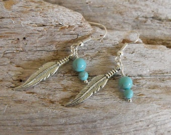 Feather Turquoise Earrings Western Cowgirl Jewelry Feather Earrings Boho Southwestern Jewelry