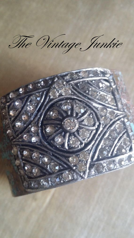 The Vintage Junkie...Etched Cuff with Repurposed Vintage Rhinestone Shoe Buckle