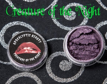 Creature of the Night - vegan purple eyeshadow with red duochrome and gold sparks