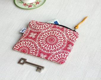 Minimalist Coin Purse Red, Mandala Zipper Pouch, Womens Card Wallet, Modern Bag