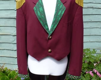 """Mens 46"""" Upcycled Red Wool Ringmaster tailcoat jacket Womens UK 22, US 18, circus ,festival ,steampunk"""
