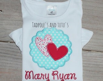 Personalized Scallop Heart Patch 2 Applique, Heart 2 Tee, Tshirt or Bodysuit, Scallop Heart 2 Tshirt, Tee or Bodysuit