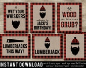Lumberjack Party Signs, L...