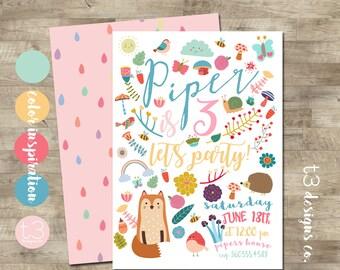 Woodland Girl Birthday Invitation, Woodland Birthday Invitation, fairy tale Birthday Invite, Cute Birthday Invitation, Cute Woodland Invite