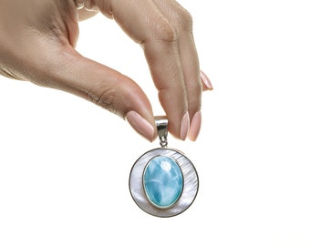 Larimar Pendant, Aifia, Mother of Pearl and Larimar Stones Jewelry made in DR