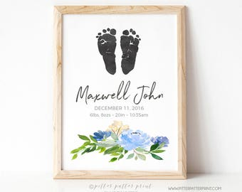 Boys Birth Announcement Wall Art, Rustic Nursery Decor, Boho Watercolor, Personalized Baby Footprints, Your Child's Feet 8x10 in UNFRAMED SE