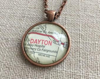Map Necklace - Dayton, Ohio - Hometown, University of Dayton