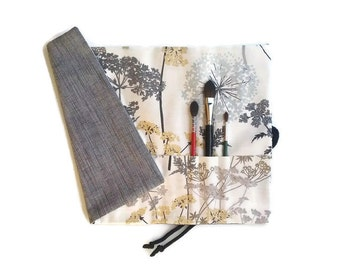Artist Paint Brush Roll Grey and Cream Floral