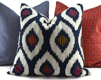 Navy, Off White, Red & Gold Ikat Throw Pillow Cover, 20x20, Moroccan Pillow Cover