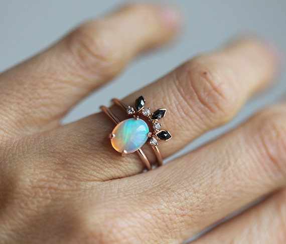Rose Gold Opal Ring Ethiopian Opal Ring Welo Opal Ring Oval