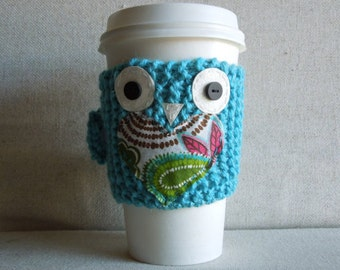 Teal Owl Coffee Cozy, Mug Cozy, Coffee Sleeve, Travel Mug Cozy