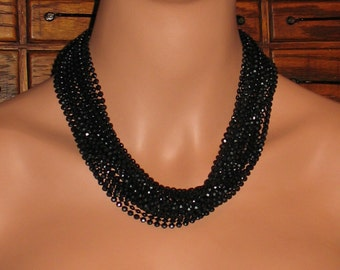 1940s Necklace, Multi Strand Necklace with Black Plastic Beads, 1930s Necklace, Tiny Black Beads in Long Necklace from 1940s, 1940s Fashion