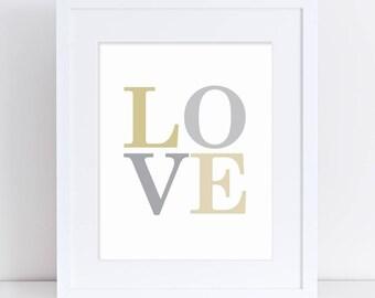 LOVE Art Print, Love Word Art, Love Printable, Gold and Grey Art Print, Silver and Gold, Wedding Sign, LOVE wedding poster, Love Nursery Art