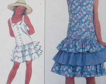 Vintage 1986 Simplicity Girls semi-fitted, tiered ruffled dress Jane Schaffhausen belle france Sewing Pattern  # 8598  Size K 8-10-12 UNCUT