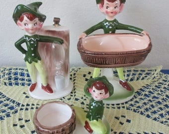 Vintage 1950s  Enesco Helpful Kitchen Pixie-Rings, Scouring Pad, Soap Holder, Egg Timer, Recipe holder Ring Holder Three Piece Set.