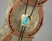 Western Bolo Tie - Genuine Turquoise Bolo Tie - Cowboy Bolo Tie - Handmade Bolo Tie - Brass Shield Bolo Slide with a Kingman Turquoise Stone
