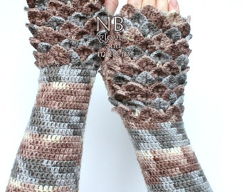 Hand Crocheted Fingerless Gloves, Gift Ideas, For Her, Gloves & Mittens, Brown, Grey, Crocodile Stitch, READY TO SHIP