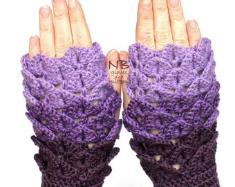 Hand Crocheted Fingerless Gloves, Violet, Lilac, Clothing And Accessories, Gloves & Mittens, Gift Ideas, Accessories